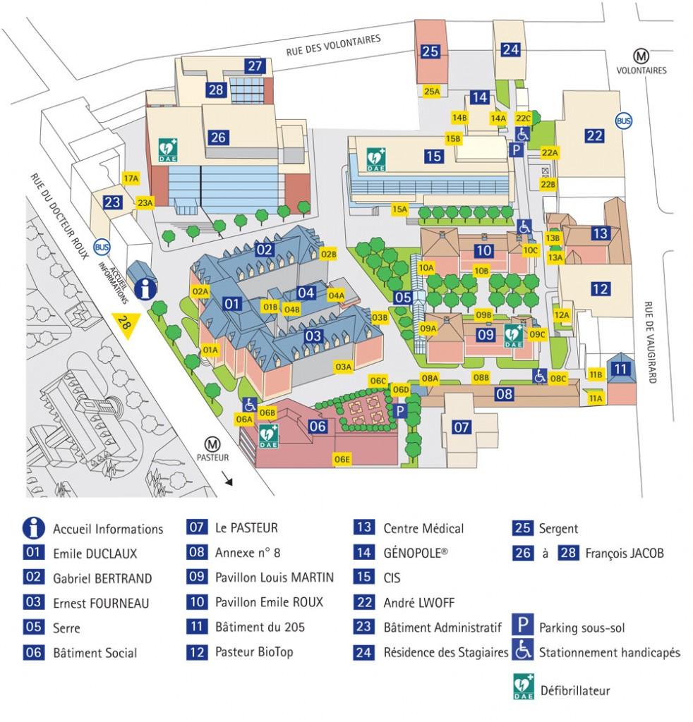 Institut Pasteur Campus Map